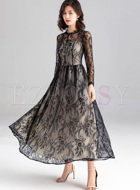Long Sleeve Perspective Big Hem Dress