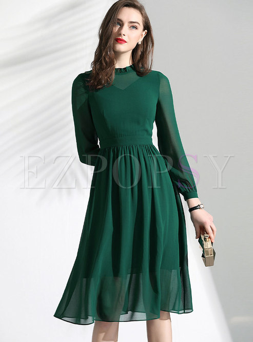 Brief Stand Collar High Waist Skater Dress