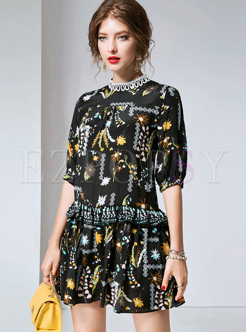 Mock Neck Half Sleeve Print Mini Dress