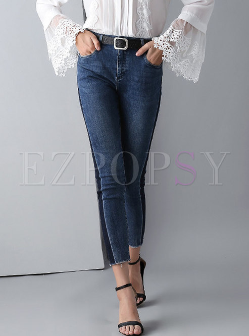 Casual Splicing Slim Skinny Jeans