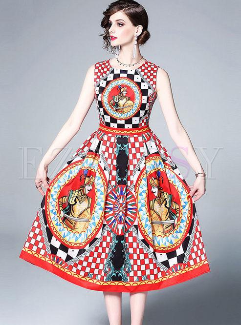 Stylish Sleeveless Printed Skater Dress