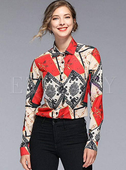 Retro Lapel Single-breasted Print Blouse