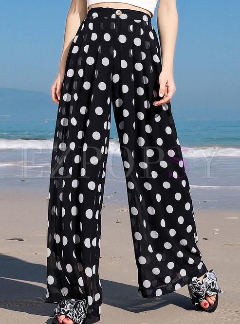 Casual Polka Dot High Waisted Loose Pants