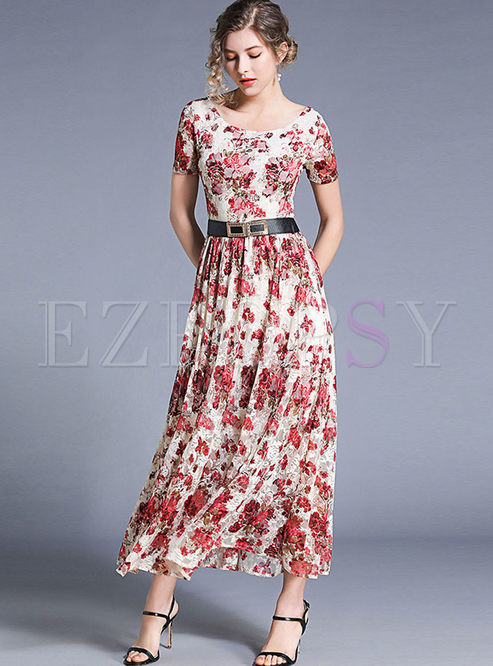 O-neck Short Sleeve Printed Waist Maxi Dress