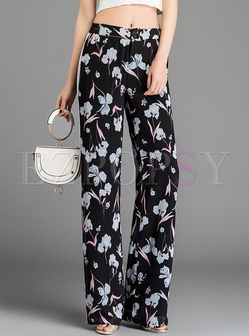 Stylish Floral Print Splicing Straight Pants