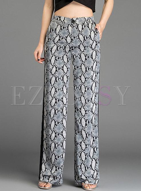 Sexy Serpentine Print Chiffon Straight Pants