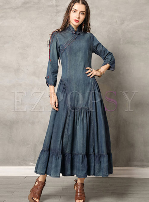 Vintage Mandarin Collar Big Hem Dress