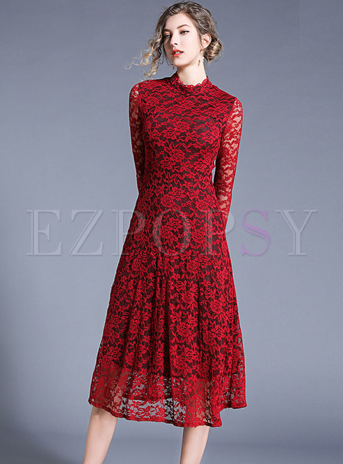 Elegant Lace Stand Collar Slim Skater Dress
