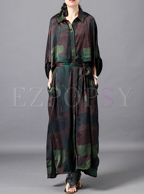 Print Lapel Belted Single-breasted Coat