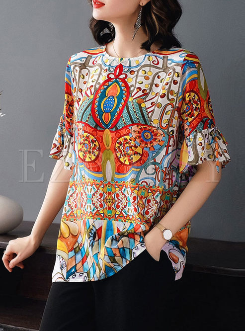 O-neck Print Pullover Loose T-shirt