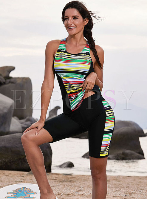 Striped Print Sleeveless Tankini Swimwear
