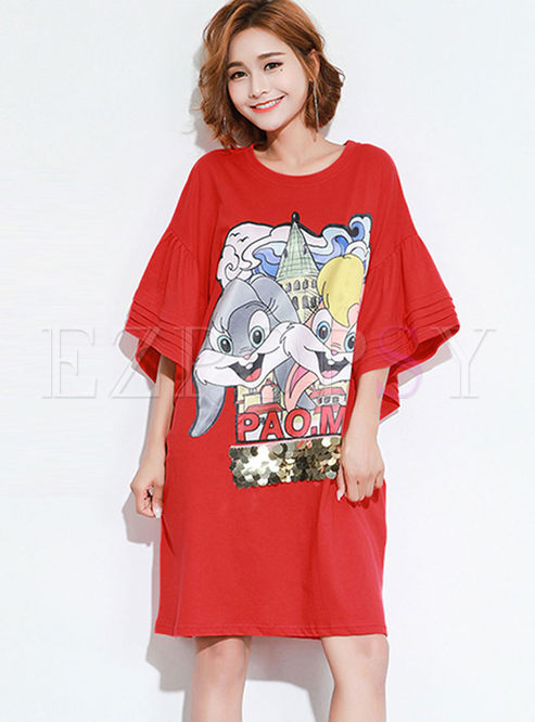 Plus Size Cartoon Print Loose T-shirt Dress