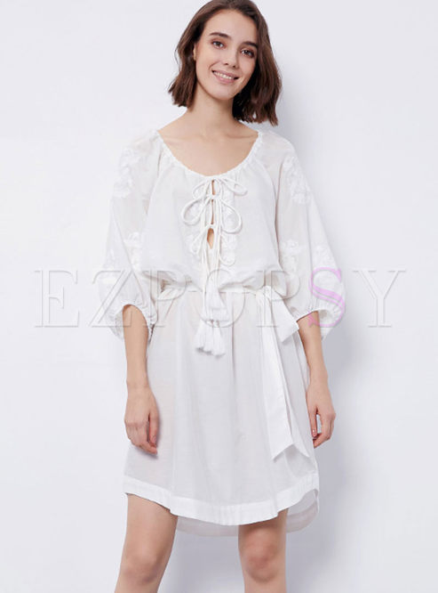Three Quarters Sleeve Irregular Hem Dress