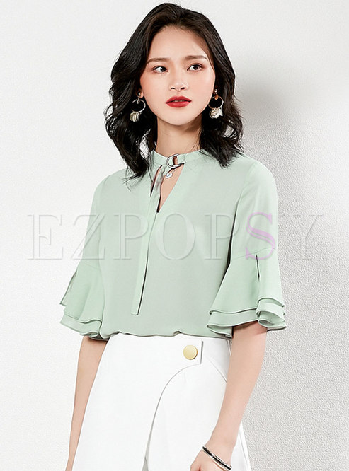 All-matched Chiffon Flare Sleeve Pullover Blouse