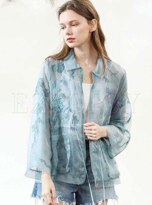 Lapel Long Sleeve Loose Zippered Coat