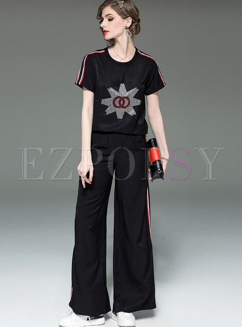 Casual Striped Splicing Print T-shirt & Wide Leg Pants