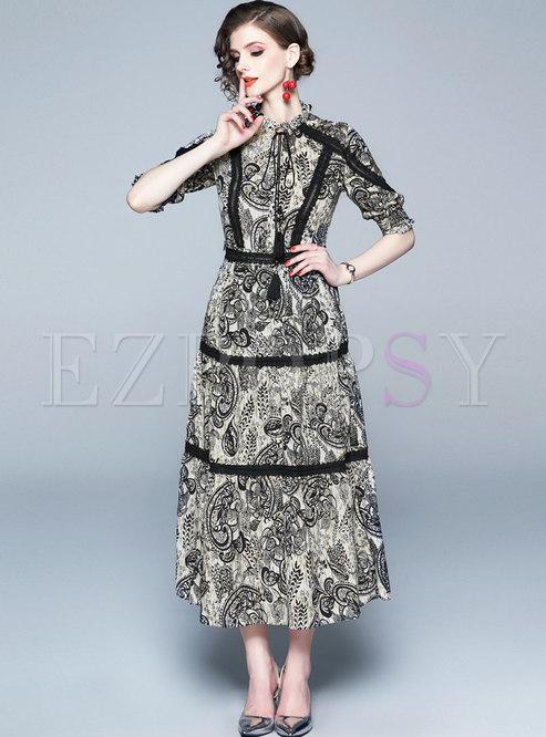 Vintage Lace Print High Waist Maxi Dress