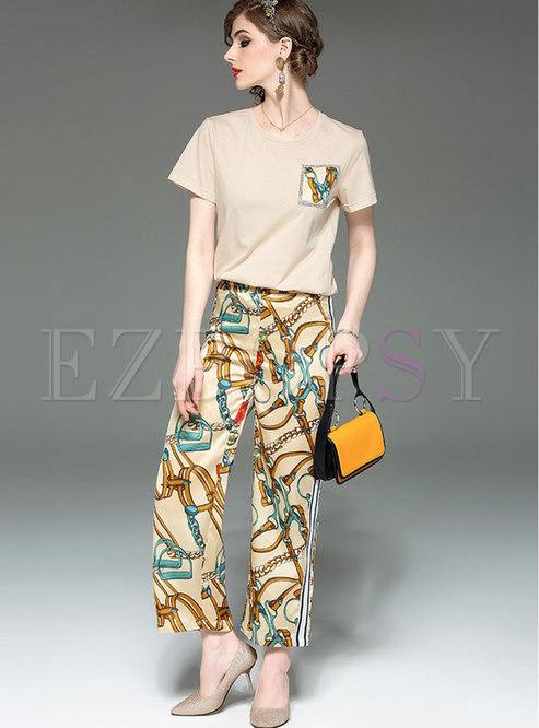 Stylish O-neck T-shirt & Print Wide Leg Pants
