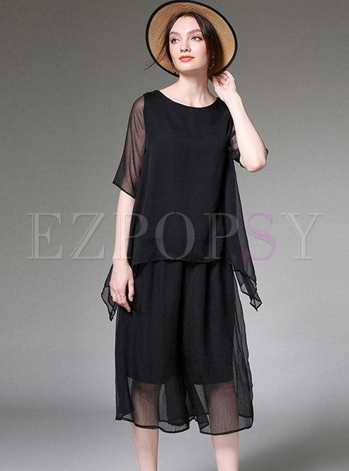 Solid Color O-neck Asymmetric Top & Elastic Waist Pants