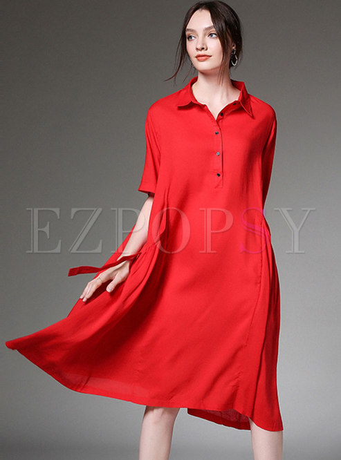 Pure Color Lapel Asymmetric Loose Dress