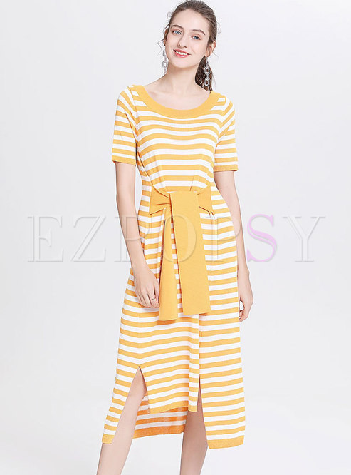 5e308f063dbf T-shirt Dresses.   Yellow Striped Tied Loose ...