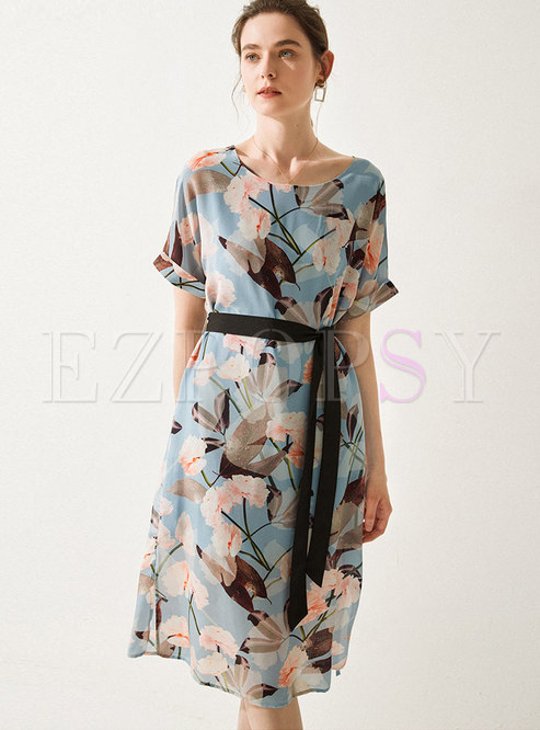 Multi Print Gathered Waist Silk A Line Dress