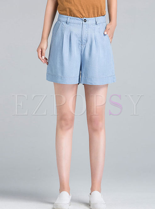 Brief Solid Color High Waist Wide Leg Shorts