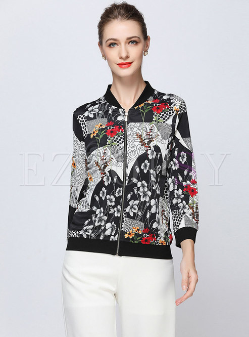 Casual Print Stand Collar Zipper Jacket