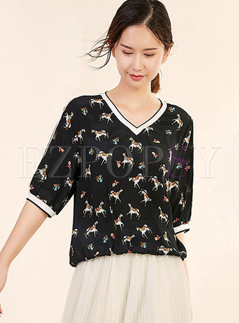 V-neck Bat Sleeve Print Silk Pullover T-shirt
