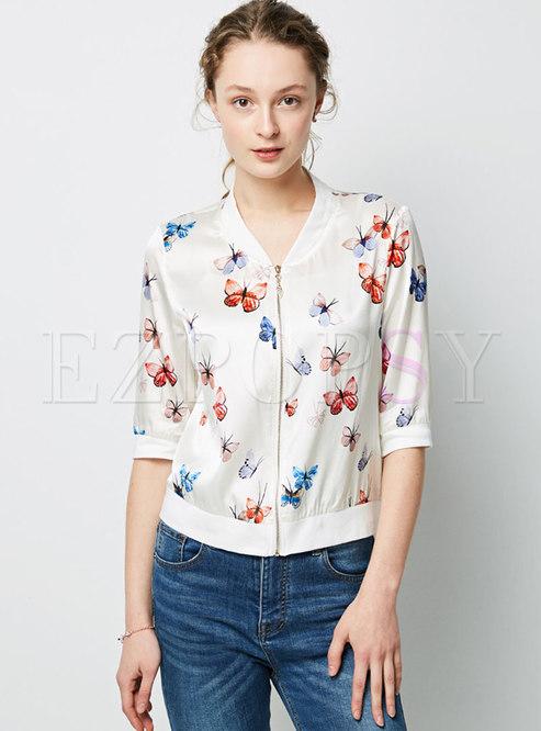 Casual Print Stand Collar Zipper Short Coat