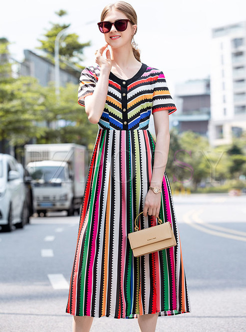 Multi V-neck Striped Pleated Maxi Dress
