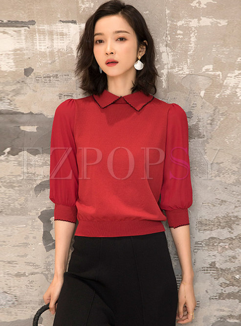 Casual Lapel Half Sleeve Knitted Top