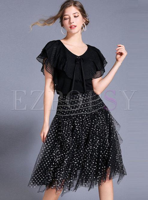 V-neck Falbala Knitted Top & Polka Dot Mesh Skirt