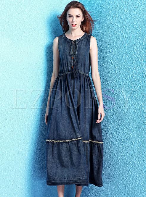 Vintage Blue Denim Tied Tassel Pleated Dress