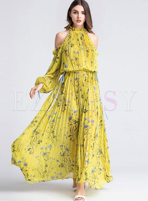 Halter Cold Shoulder Long Sleeve Maxi Dress