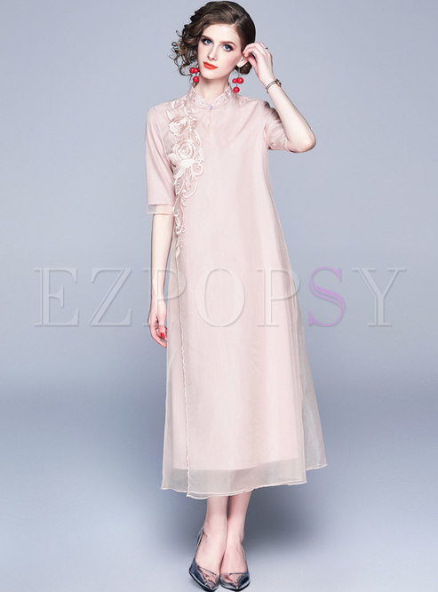 Elegant Pink Mesh Embroidered Slim Maxi Dress