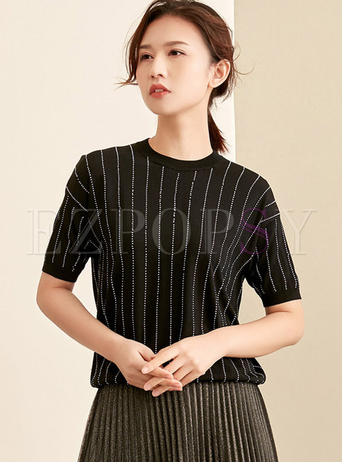 Casual O-neck Drilling Short Sleeve T-shirt