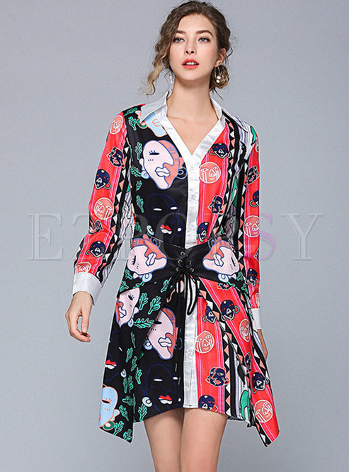 Print Lapel Gathered Waist Asymmetric Mini Dress