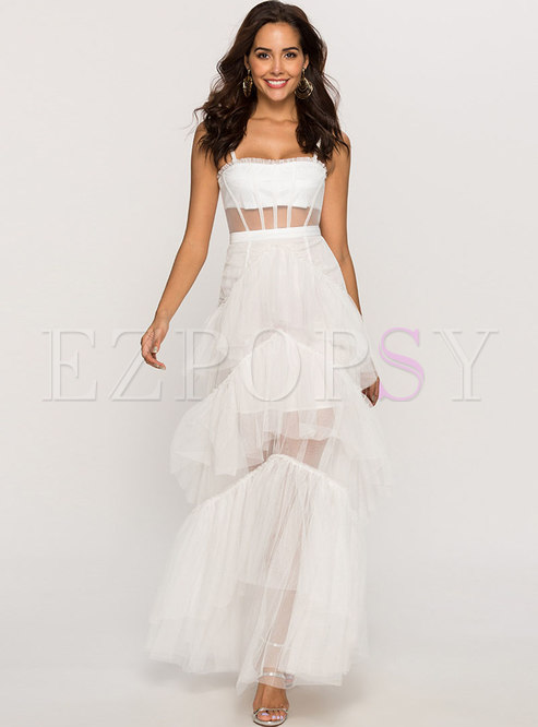 Chic White Mesh Backless Splicing Holiday Beach Maxi Dress