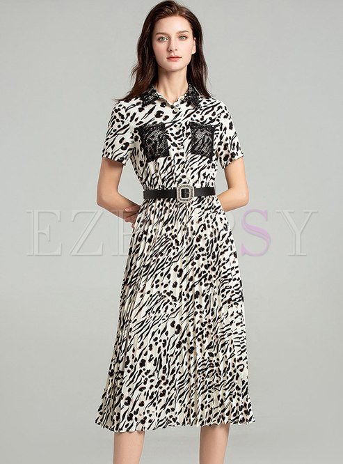 Casual Leopard Lace Splicing Pleated Bodycon Dress