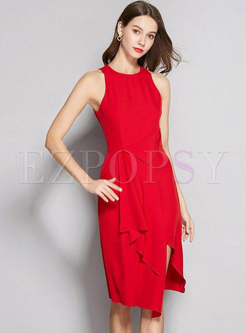 O-neck Sleeveless High Waist Asymmetric Bodycon Dress