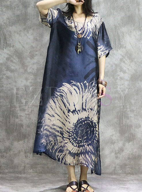 Fashion O-neck Loose Print Slit Shift Dress