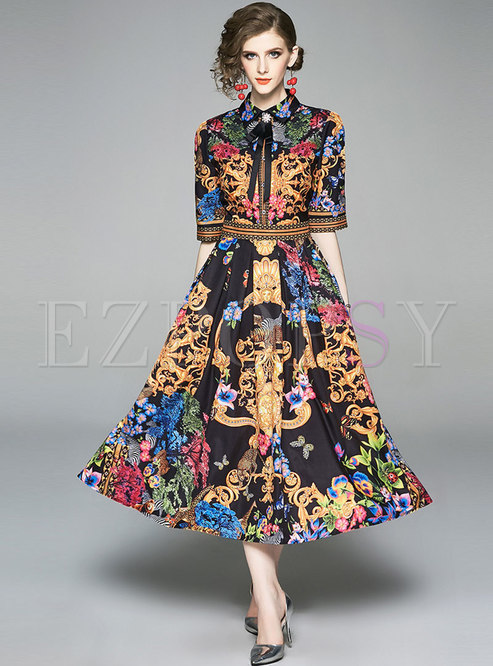Vintage Print Lapel Half Sleeve Maxi Dress