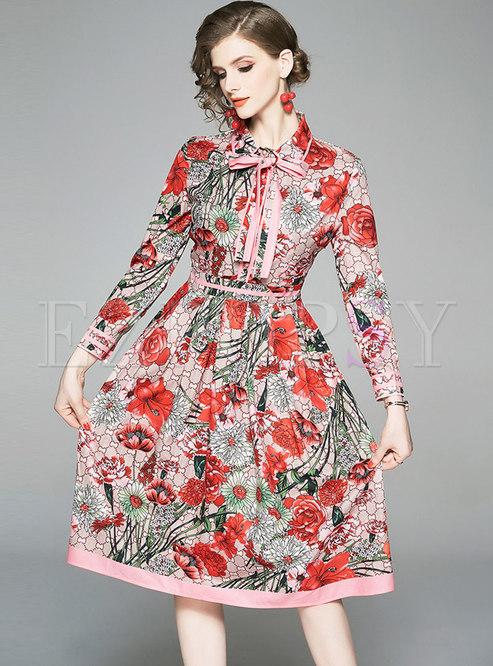 Chic Print Lapel Belted Skater Dress