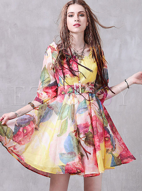 Retro Elegant Print Square Neck Skater Dress