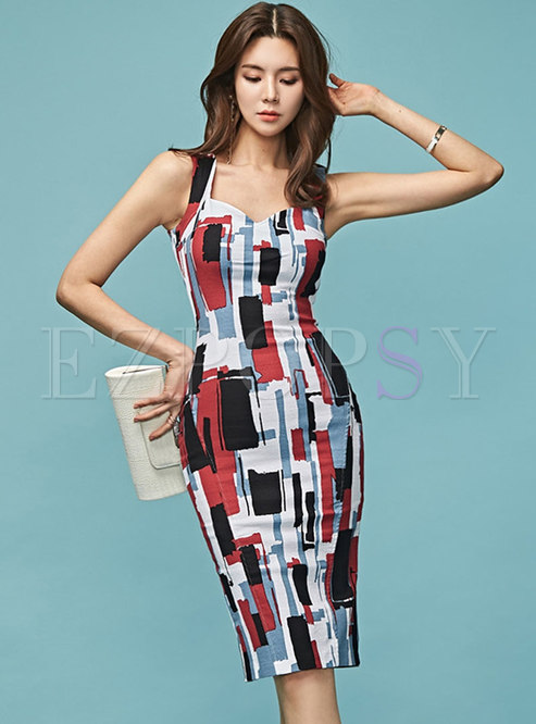 Work Multi Backless Slip Sheath Dress