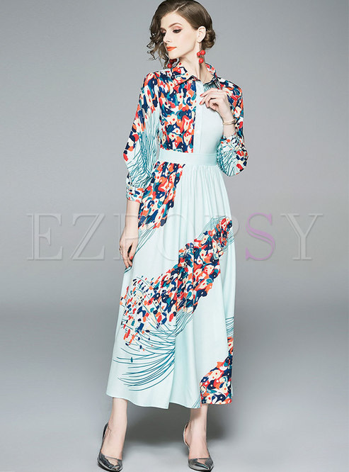 Stylish Print Lapel High Waist Maxi Dress