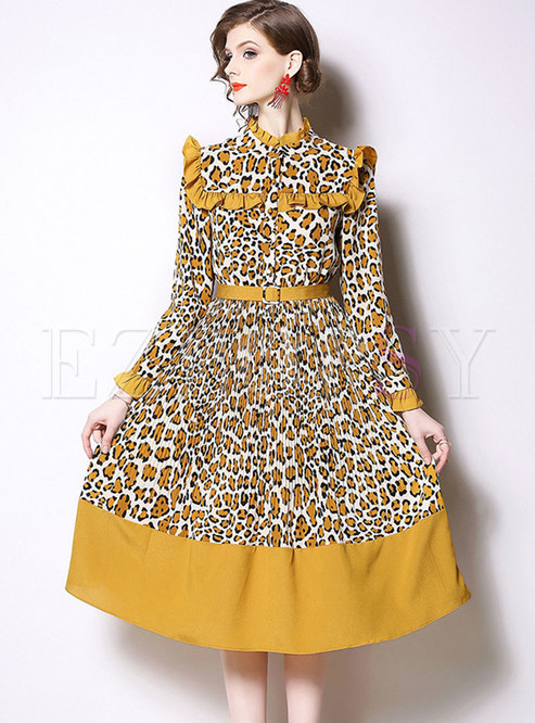 Leopard Stand Collar Belted A Line Dress