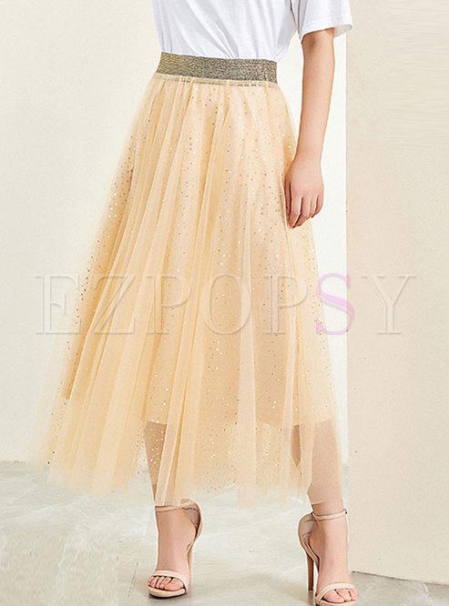 Stylish Elastic Waist Sequined Mesh Skirt