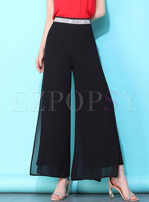 Chiffon Black High Waist Wide Leg Pants